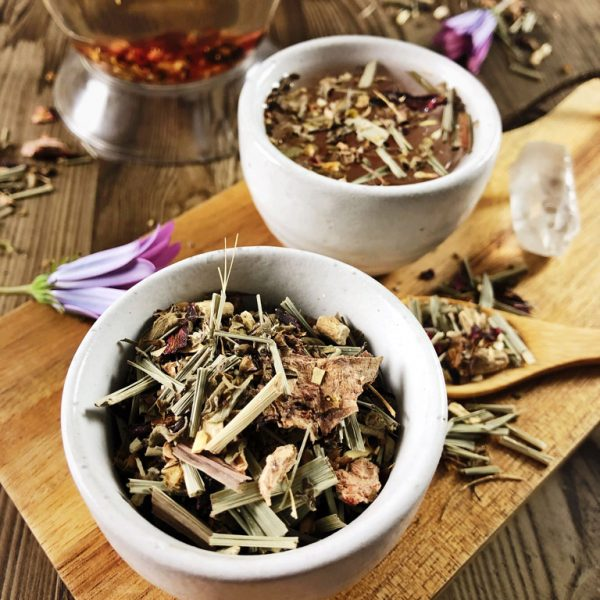 Wild Harvest herbal tea in two teacups