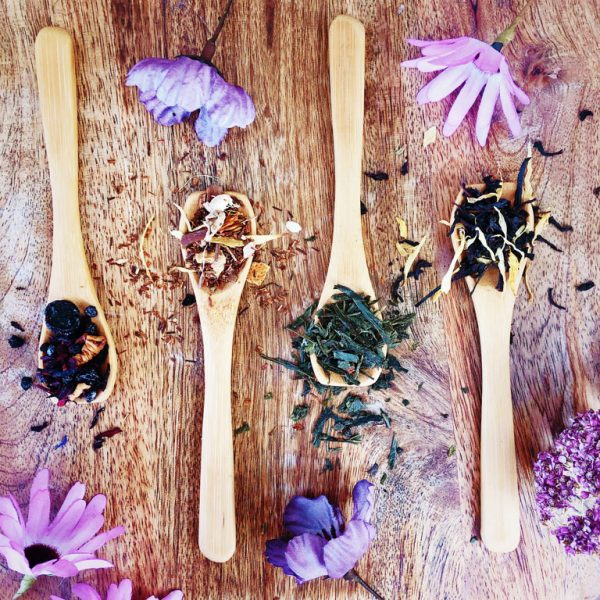 Four teaspoons heaped with the four different tea blends included in this bundle. From left to right: Blue Moon berry and floral blend, Ritual At Dusk rooibos and spices blend, Faerie Garden green and strawberry blend, and Midnight Cauldron black tea blend.