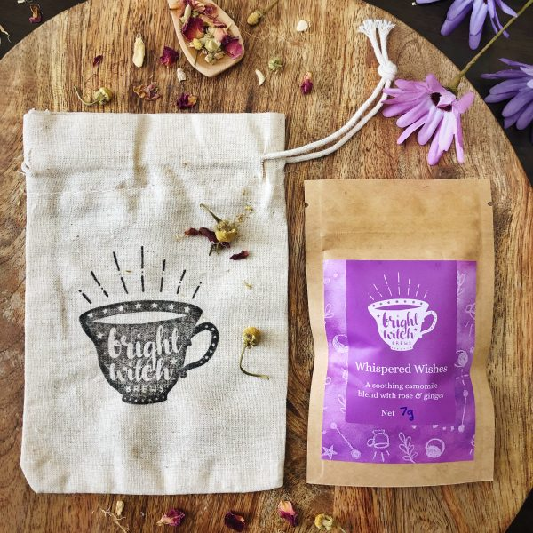 Sample packet of enchanted Whispered Wishes tea and hand-stamped cotton drawstring bag