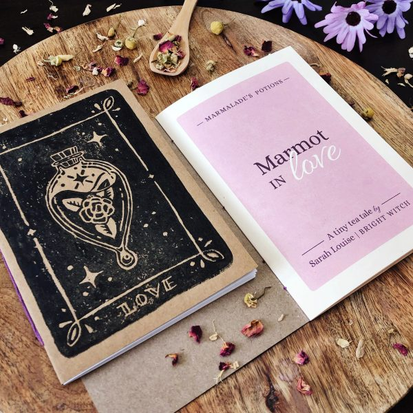 Marmalades Love Potion Tea tale booklet with handprinted cover